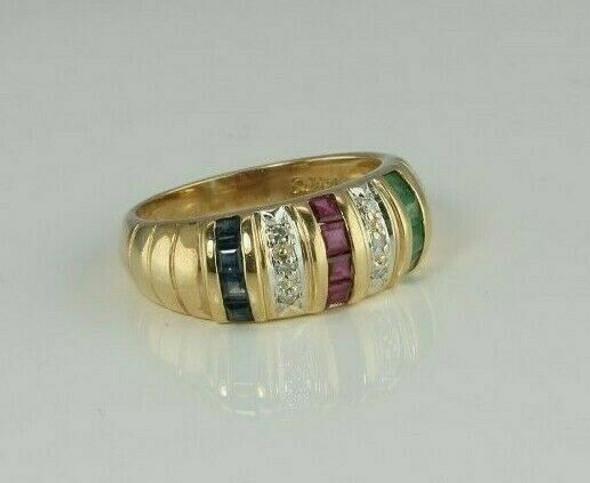 14K Yellow Gold Emerald Ruby Sapphire and Diamond Ring Size 6.5