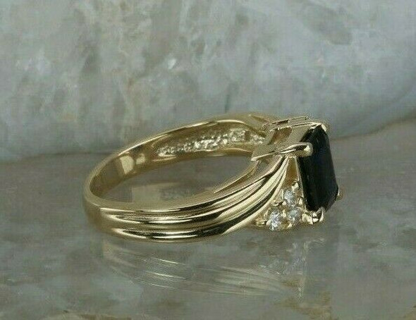 14K YG Sapphire and Diamond Accent Ring Bypass Design Size 6.75 Circa 1970
