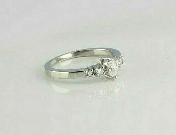 14K WG 1/2ct tw Diamond Marquise Ring with Round Accents Size 7.75 Circa 1970