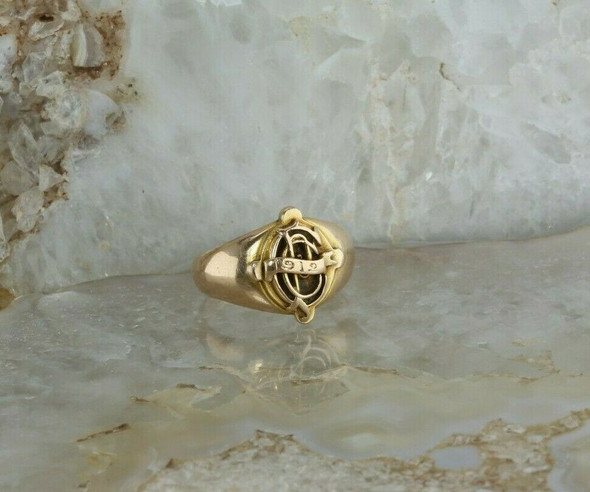 Antique 14K Yellow Gold Unknown Class Ring 1912 Pinkish Tone Size 6.25