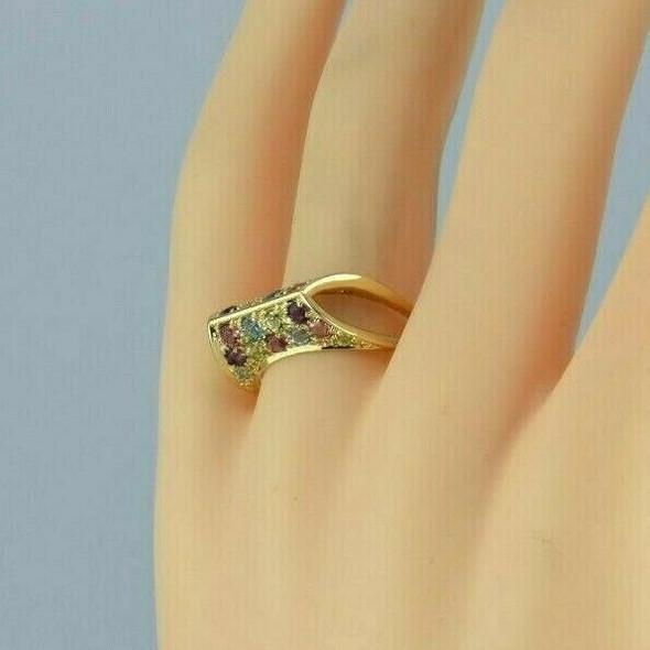 14K Yellow Gold Semi Precious Multi Color Stone Ring Size 8 Circa 1980