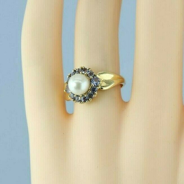 14K Yellow Gold Pearl and Tanzanite Halo Ring Size 7 Circa 1990