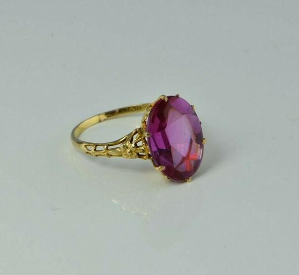 Vintage 14K Yellow Gold Pink Stone Ring Size 7 Circa 1950