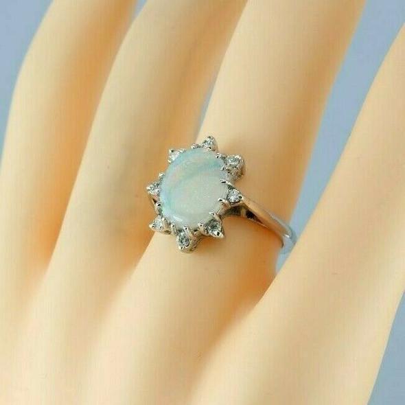Vintage 14K White Gold Opal and Diamond Halo Ring Size 6.75 Circa 1960