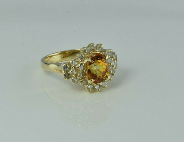 14K Yellow Gold 5 ct tw Orange Sapphire and Diamond Halo Ring size 7