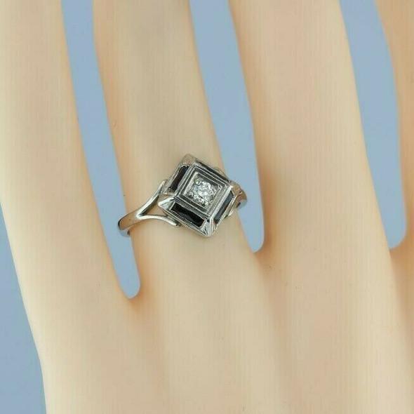 Antique 14K WG 1 ct tw Art Deco Diamond and Sapphire Ring Size 6 Circa 1925