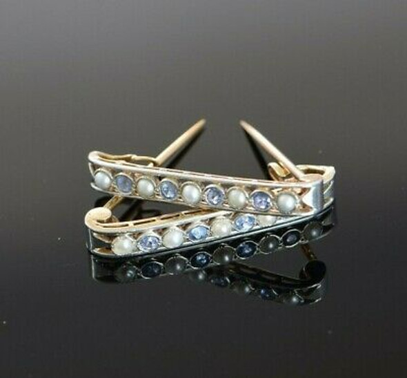 Antique 18K YG with Platinum Pearl & Sapphire Bar Collar Pins Circa 1925