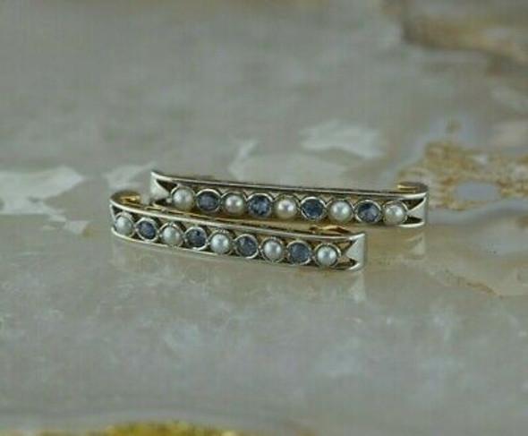 Antique 18K YG with Platinum Pearl & Sapphire Bar Collar Pins Circa 1925