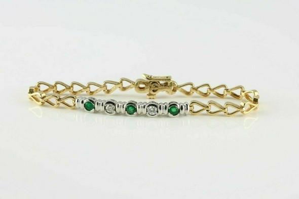 14K YG Emerald and Diamond Bracelet 1 ct tw 7.25 Inches Circa 1970