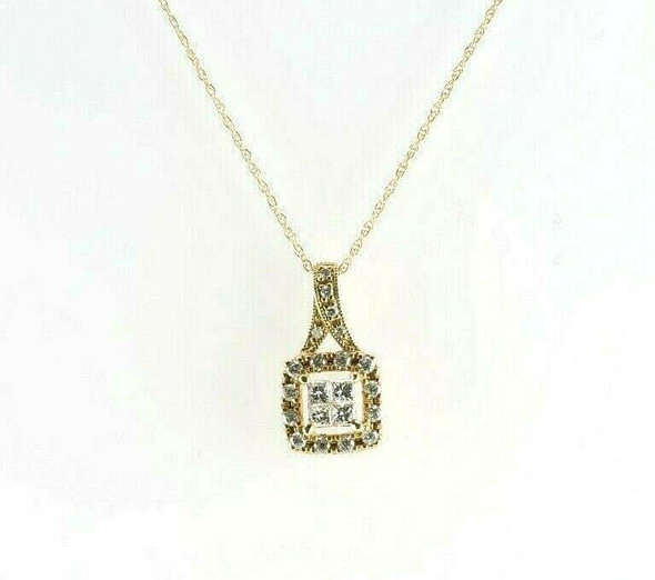 10K Yellow Gold 1/2ct Diamond Princess Necklace Pendant with Chain Circa 1990