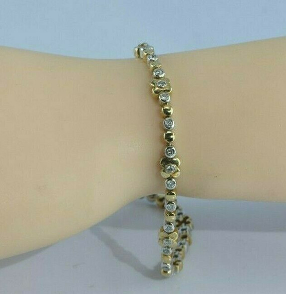 14K White and Yellow Gold Diamond Bracelet Circa 1990