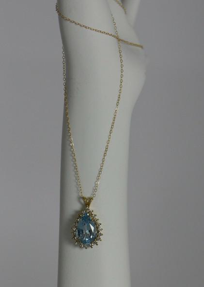 14K Yellow Gold Teardrop Aquamarine with Diamond Halo Pendant on Chain