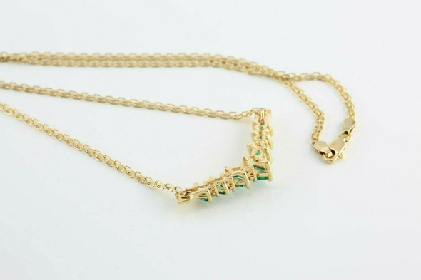 14K Yellow Gold Emerald and Diamond Necklace with double link chain Circa 1970