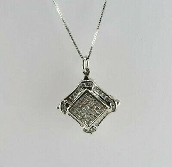 14K White Gold Diamond Pave Halo Pendant with Box Link Chain Circa 1990