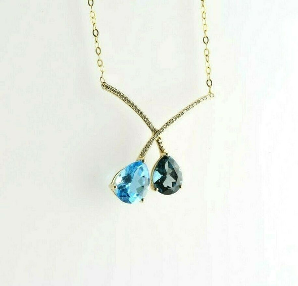 14K Yellow Gold Diamond and Blue Topaz Necklace