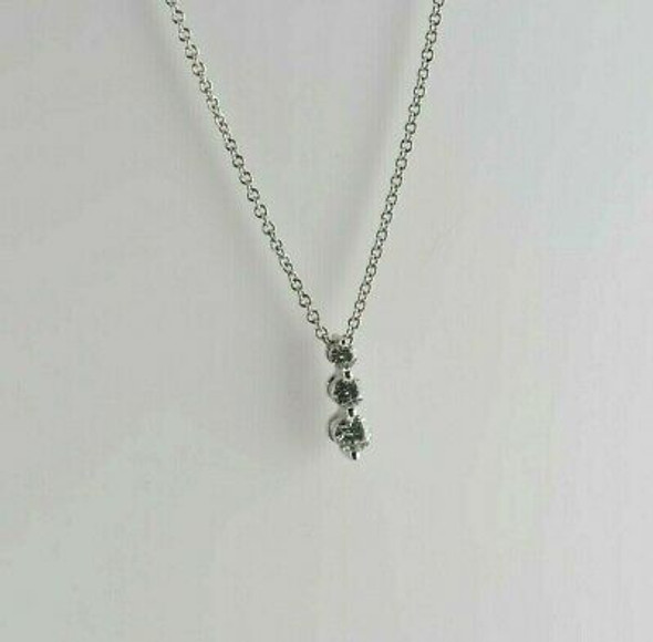18K White Gold Diamond 3 Stone Necklace with Round Link Chain Circa 1990