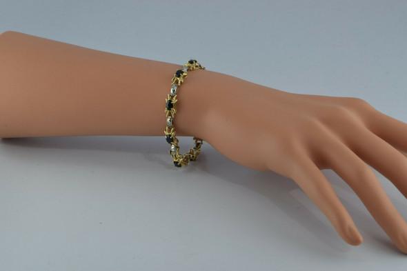 14K YG 5 ct tw Sapphire and Diamond Accent Bracelet 6.25 Inches Circa 1970