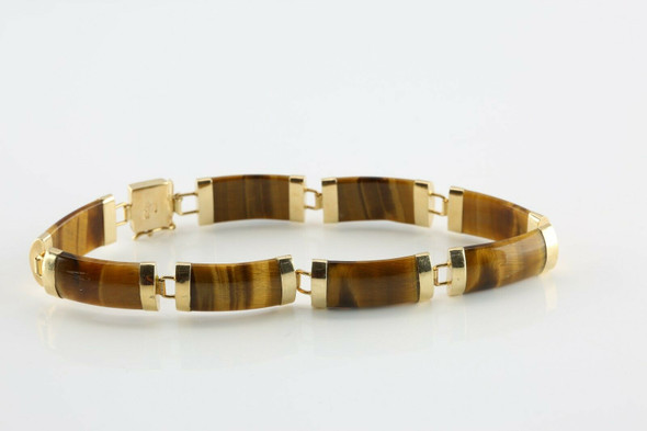14K Yellow Gold Asian Tiger Eye Segment Bracelet 7 Inches Circa 1970