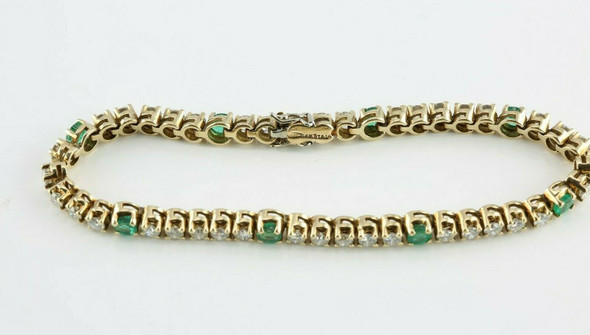 Excellent 14K YG Diamond and Emerald Bracelet 7.25 Inches Circa 1980