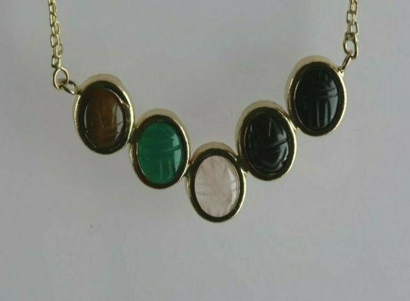 Vintage 14K Yellow Gold Semi Precious Scarab Necklace Circa 1960