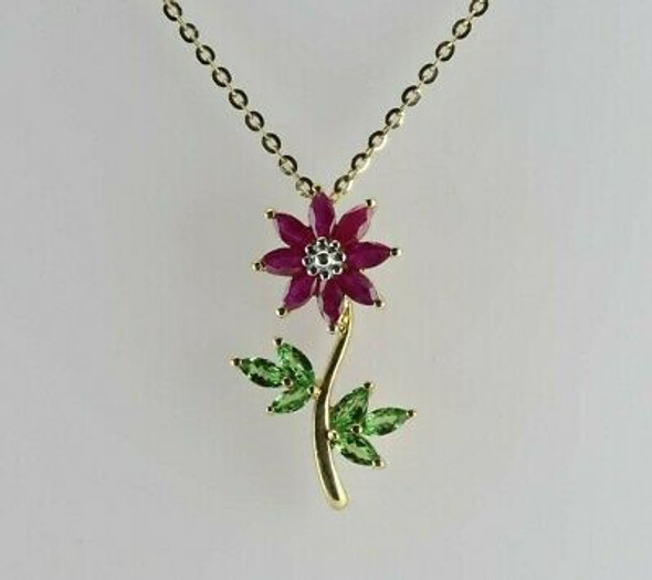 Vintage 14K Yellow Gold Ruby and Peridot Flower Pendant on Chain Circa 1960