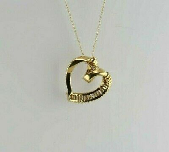 14K Yellow Gold Diamond Heart Necklace Baguette Set Circa 1990