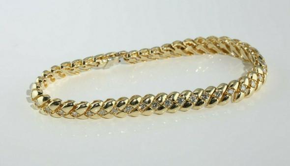 14K Yellow Gold 2 ct tw Diamond Bracelet 7 Inches Circa 1980