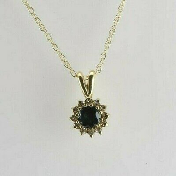 Vintage 14K Yellow Gold Sapphire and Diamond Stone Necklace Circa 1960