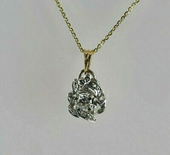 14K Yellow and White Gold Diamond Necklace Circa 1950 Italy