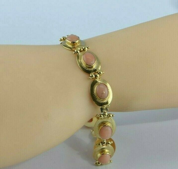 Vintage 18K Yellow Gold Italian Pink Coral Bracelet 7 Inches Circa 1960