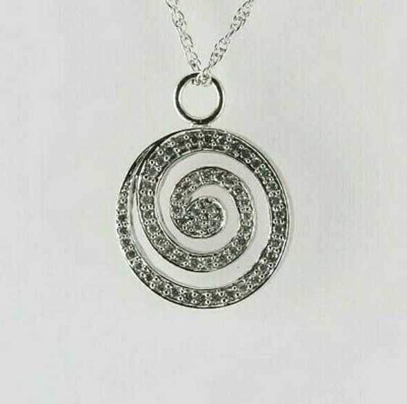 14K White Gold Diamond Spiral Pendant on Chain Circa 1990