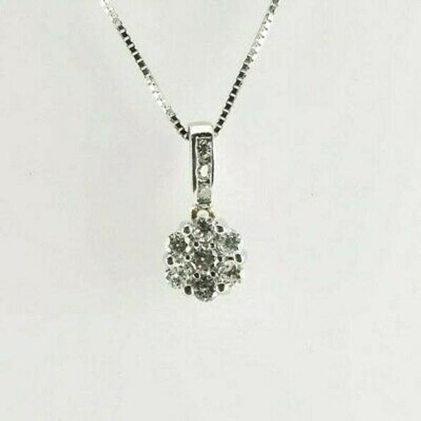14K White Gold Diamond Rosette Pendant and Box Link Chain Circa 1980