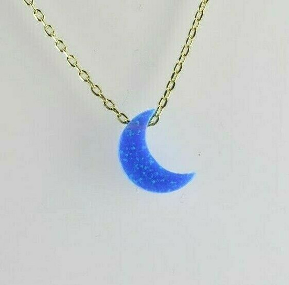 Vermeil .925 Opal Crescent Moon Pendant Necklace with 19 Inch Adjustable Chain