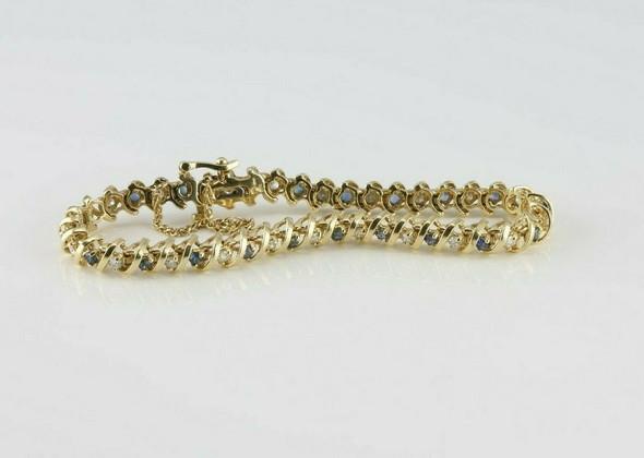14K YG 3ct tw Diamond and Sapphire Bracelet 6.75 Inches Circa 1970