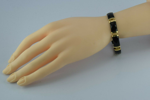 14K Yellow Gold Asian Black Onyx Segment Bracelet 6.75 Inches Circa 1980