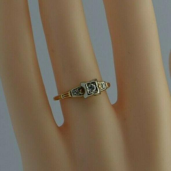 Vintage 14K YG & 18K WG Diamond Engagement Ring Size 6.5 Circa 1940