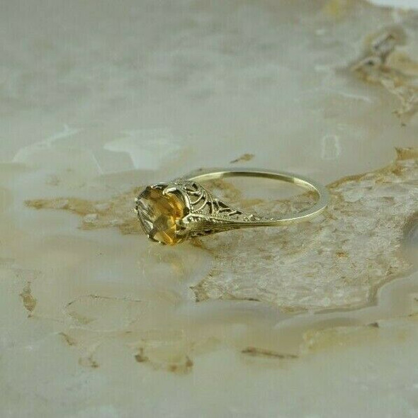 Vintage 14K Yellow Gold Citrine Deco Filigree Ring Size 6 Circa 1930