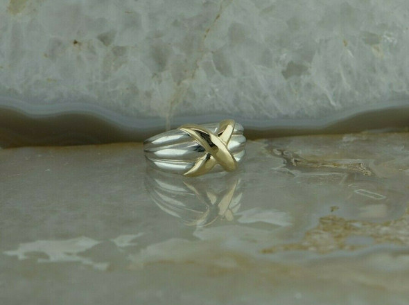 14K Yellow Gold and Sterling Silver X Form Ring Size 5.25