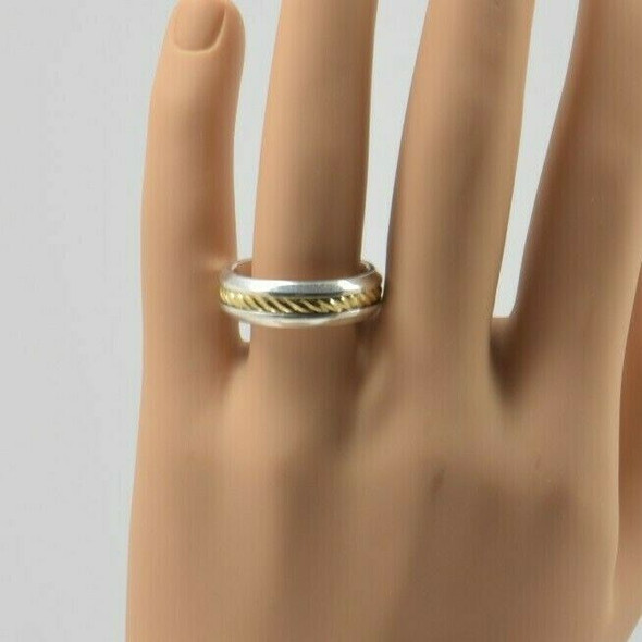 18K Yellow Gold and Sterling Silver David Yurman Men's Ring Size 13