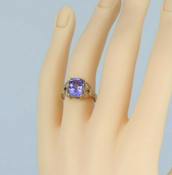 10K Yellow Gold Signed Black Hills Gold Amethyst Ring Circa 1990 Size 6+