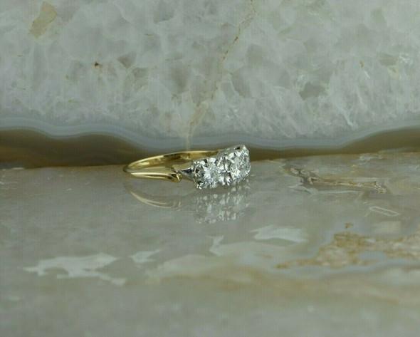 Vintage Diamond 3 Stone Ring 1.2ct tw, Transitional Cut Size 7.75 Circa 1940