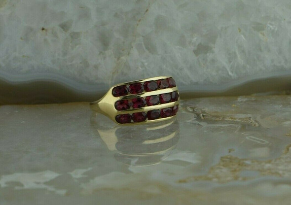 14K Yellow Gold Rhodelite Garnet Ring Size 9 Circa 1980