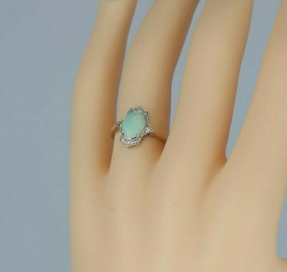 14K White Gold Opal and Diamond Ring Size 6.25 Circa 1970