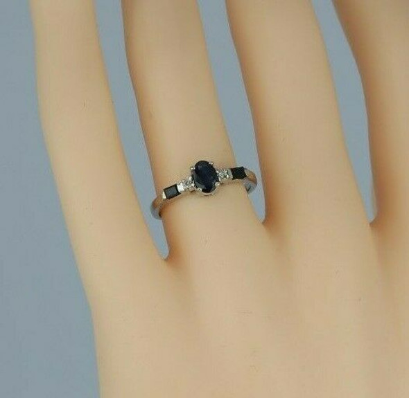 14K White Gold 1ct tw Sapphire and Diamond Ring Size 6.5