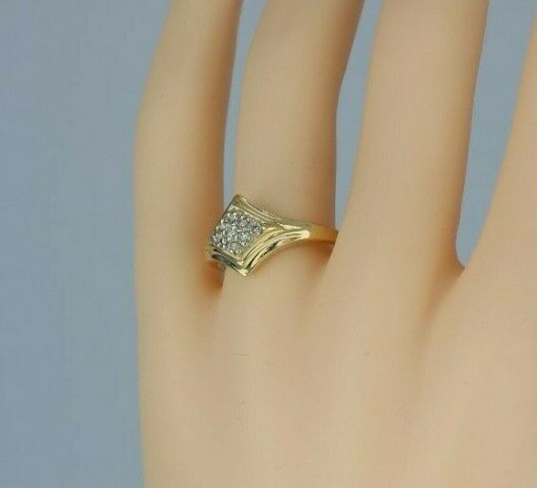 14K Yellow Gold 1/4ct Diamond Cluster Ring Size 9