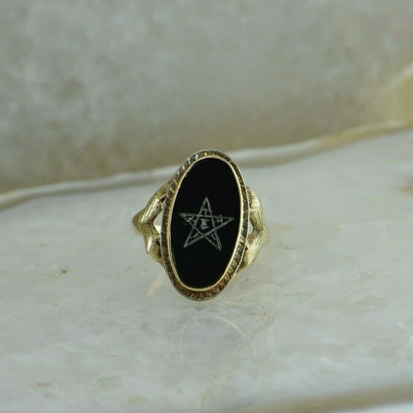10K Yellow Gold Masonic Eastern Star Black Onyx Ring Size 7.5 Circa 1950