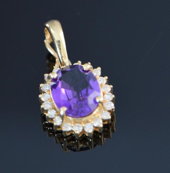 14K Yellow Gold Amethyst and Diamond Halo Pearl Enhancer Pendant