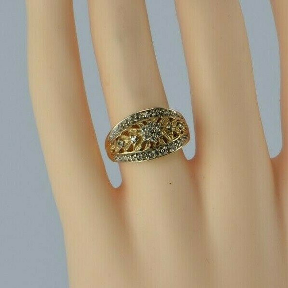 10K Yellow Gold Cast Foliage Diamond Band Size 7 Circa 1980