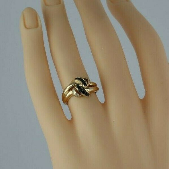 Vintage 10K Yellow Gold Sapphire and Diamond Love Knot Ring Size 5.75 Circa 1960