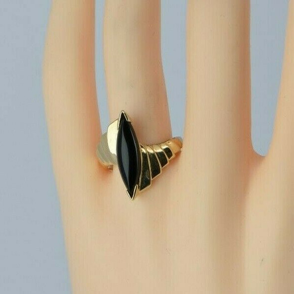 10K Yellow Gold Black Onyx Navette Ring Size 9